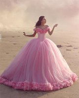 Other Wedding Dresses Pink Cloud 3D Flower Rose Long Tulle Puffy Ruffle Robe De Mariage Bridal Gown Said Mhamad