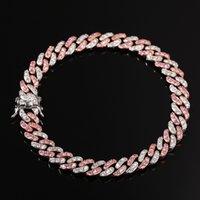 Fashion Womens Anklets Bracelet Iced Out Cuban Link Chain Bracelets Gold Silver Pink Diamond Hip Hop Jewelry