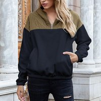 Kili 양면 폴라 양털 컬러 블록 풀오버 후드 플러시 스웨터 숙녀 포켓 스웨터 가을 겨울