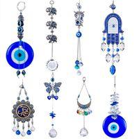 HD handmade fortunato hamsa turco blu malvagio occhio cristallo suncatcher ciondolo vento carillon amuleto casa parete giardino decorazione a sospensione
