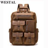 Backpack WESTAL Men Crazy Horse Leather Laptop Bag Luxury Shoulder Schoolbag Satchel Daypack For