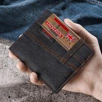 Wallets Men's Wallet 2PCS Quality Short Male Purses Denim Business Card Holder Man Purse Coin Bag Zipper Gift For Men