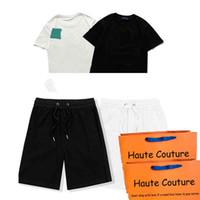 Moda homens terno 21ss top shorts masculinos moda estilista mens tshirts estilista mulheres casuais tshirts cor preto e branco