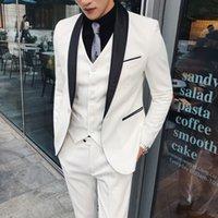 White Wedding Tuxedos 2022 Fashion Men's Slim Boutique Business Groom Dress Blazers Jacket Waistcoat Trousers (Jacket+Pants+Vest)