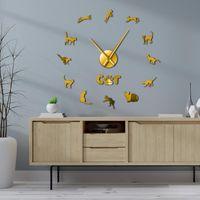 Horloges murales cornish rex chat drôle chaton drôle art décoratif grande horloge bricolage géant suspendu montre amoureux cadeau