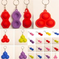 2021 Push Bubble Pop It Fidget Key ring Simple Dimple Toys Key Holder 3 2 Balls Squeezy Balls Stress Reliever Key Chain Bag Pendants