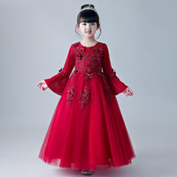 Girl's Dresses 2021 Appliques Red Tulle Flower Girl Dress For Wedding Long Sleeve Kid Summer Gown Party First Communion