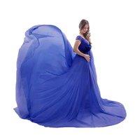 Платья для беременных Женские беременные Фотографии реквизиты с плеча без рукавов без рукавов без рукавовного платья Сексуальное платье Robe-Femme