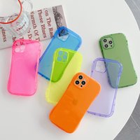 Military-Grade Slim Waist Corners Cases Fluorescence Color Transparent Shockproof Clear TPU Camera Lens Protection For iPhone 13 12 Mini 11 Pro MAX 8 7 Plus
