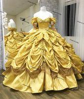Hermosa quinceañera amarilla vestida del hombro princesa tafetán gótico vestido de bola de encaje gótico ruffles falda dulce 16 vestido de fiesta