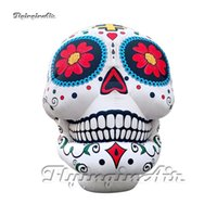 Personalized Lighting Inflatable Skull 3m 4m Height White Blow Up Cranium Model Demon Head Balloon For Concert Stage And Halloween Party Decoration