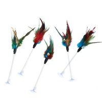 Cat Toys 5 Pcs Funny Toy Fishing Rod Kitten Pet Stick Teaser Home Interactive Play Wand With Feather For Cats
