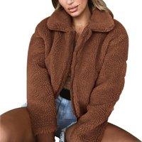 Women's Jackets Autumn Winter 2021 Short Coat Women Zipper Turn-down Collar Faux Fur Bomber Jacket Fluffy Fleece Overcoat Vintage Ladies