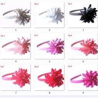 女の子アリスヘアバンドフープスティックカーリーリボンコルカー弓花フォーカーちょう結び覆われた完全に並ぶプラスチックスクールヘッドバンドPD009