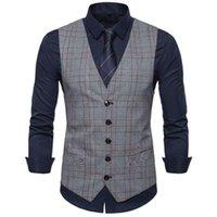 Men's Vests Men Fashion Formal Tuxedo Waistcoat Business Suit Top Slim Blazer Jacket Coat