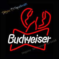 Budweiser جراد البحر الحقيقي النيون تسجيل الجدار ضوء ل البيرة بار المنزل غرفة نوم بارد فن ديكور اليدوية مصابيح النيون 17x14 بوصة