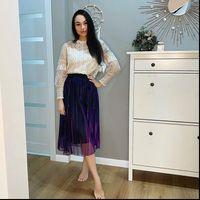 Fall winter high waist slim Womens Skirt retro gradient reflective mesh pleated