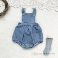 Infant kids denim romper toddler boys square collar loose suspender jumpsuits baby girls soft cowboy climb clothing Q2227