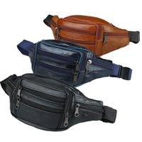 Qehiie Marca Moda Homens Genuíno Cintura De Cintura Pacotes Homens Organizador Viagem Cintura Pacote Necessidade Cinto Cinto Móvel Saco 210317