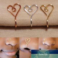 Originele hart vorm neus manchet ring voor vrouwen koperdraad nep piercing goud zilver kleur clip neus ring lichaam sieraden