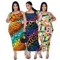 Sexy ladies fat woman big yards of irregular printing sling lady recreational skirt outfit