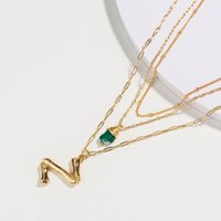 Pendant Necklaces Natural Green Stone Necklace Fashion Gold Multilayer Alphabet Name Initial 26 Letter Women Accessories Jewelry