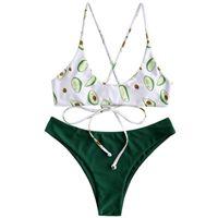 Maillots de bain pour femmes ILGLKSND Été Split Set, Adultes Femmes Loisirs Style Creative Avocat Impression à lacets Sexy Backiness Bukini Swimsuit