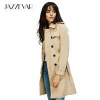 Jazzevar 2021 Automne Nouvelle Marque High Mode Femme Classique Trench-Coat à double boutonnage imperméable imperméable imperméable businesswear Y4PS #