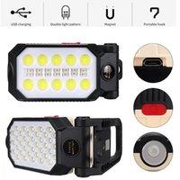Lumière de travail LED 4 modes T6 + COB Lanterne USB USB Charge USB Camping Camping Torch Work Work Urgence Lumière d'urgence