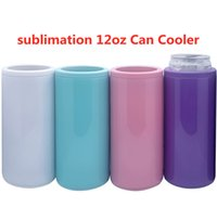 Sublimation 12oz Can Cooler straight tumbler Insulator Stainless Steel Tumblers Vacuum Insulated Bottle Cold Insulation cup colorful