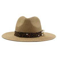 Kadın Şapkalar Saman Geniş Brim Bant Kemer Leopar Inci Güneş Şapkaları Erkekler Kadınlar Batı Kovboy Vintage Lüks Plaj Yuvarlak Üst Erkekler Şapka Yeni
