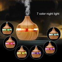 Nouvelle aromathérapie Essential Huile Diffuseur Humidificateur Bamboo Humidificateur en bois Greuin à grain Brouillard Coly-synthèse à 7 LED Couleur Light 476 V2