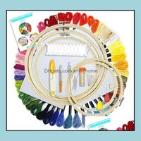 Craft Tools Arts, Crafts Gifts Home & Gardenembroidery Starter Kit 50 Color Threads 5Pcs Bamboo Hoops Cross Stitch Embroidery Supplies Tool