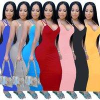 Bayan Elbiseler Skinney Kaşkorse Backless Katı Renk Bayanlar Elbise Moda Rahat Artı Boyutu Kadın Giyim 2021 Yeni Sıcak