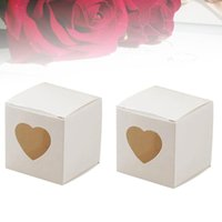 Gift Wrap 50 Pcs Square Kraft Paper Candy Boxes PVC Transparent Heart-shaped Window Cupcake Favor Wedding Party Accessories (White)