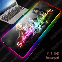 XGZ Sword Art Online RGB Gaming Large Mouse Pad Gamer Led Computer Anime Mousepad with Backlight Carpet for Keyboard Desk Mat Y0308