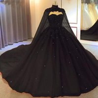 2021 Arabic Sexy Black Gothic A Line Wedding Dresses Quinceanera Dress Dark Red Sweetheart Lace Appliques Beads With Cape Plus Size Bridal Gowns Ball Gown Custom