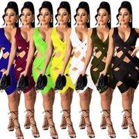 2021 여름 여성 드레스 섹시한 중공 슬림 짠 스커트 소녀 패션 비치 캐주얼 솔리드 컬러 민소매 보디콘 드레스 S-3XL H32BKS2