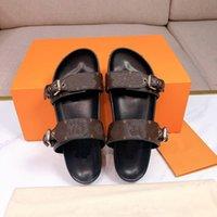 2021 디자이너 여성 슬라이드 샌들 Bom Dia Flat Mule Slipper 특허 캔버스 남성 여성 비치 슬라이드 고무 밑창 여름 플립 플롭 박스 A2
