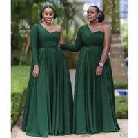 Dark Green Bridesmaid Dresses Satin 2022 Designer One Shoulder Long Sleeves Floor Length Plus Size Maid of Honor Gown Country Beach Wedding Evening vestidos