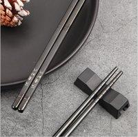 Kore galvanik 304 paslanmaz çelik yemek çubukları zımparalama siyah ev kaymaz paslanmaz çelik kare çubuklarını lazer 22.5 cm