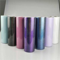 Sublimation Glitter Tumblers Rainbow Color Stainless Steel Water Bottle Double Wall Coffee Mug With Lid Insulation Drinking Cup 20oz