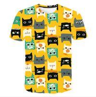 T-shirt 3D per ragazzi T-shirt per ragazze stampa cartoon cat bambini camicia bambini estate teen manica corta t-shirt per bambini anime vestiti gatto