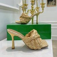 أعلى جودة السيدات بغل الصنادل strechy ملتوية حزام الخزامى raffia جلد طبيعي عالية الكعب الفاخرة النساء الأحذية بوتيك 9 سنتيمتر حجم 34 إلى 42