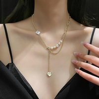 Pendant Necklaces U-Magical Charming Asymmetry Irregular Natural Pearl Love Heart Necklace For Women Gold Chain Letter Jewelry