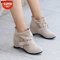 Tino Kino Mulheres Camurça Altura Aumentando Ankle Botas Femininas Borboleta-Nó Deslize em Sapatos Casuais de Inverno Senhoras Senhoras Bando Botas # WG58