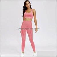 Yoga Outfits Exercise Fitness Outdoor Apparel & Outdoors2 Peice Athletic Wear Sports Bra For Women Tracksuits Gym Matching Sets Leggings Sea