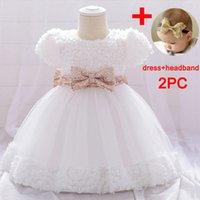 Mädchen Kleider PLBBFZ Headban Girl Send Headban Girl Baby Taufe Kleid zuerst 1. Geburtstag Kleid Party Kinder Kleidung Kleinkind Kind