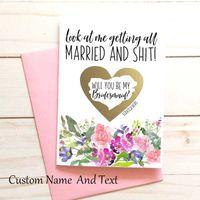 グリーティングカードカスタム任意のテキスト面白い花嫁介添人提案、カード、ギフトボックス、名誉の提案のメイド