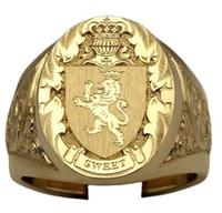 Anello del distintivo di scudo dell'anello del leone della corona di modo Europa e gli Stati Uniti placcati con anello da uomo realizzato in oro 18 carati
